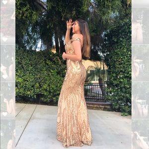 Golden Mermaid Formal Sequin Dress